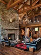 60 Awesome Log Cabin Homes Fireplace Design Ideas (41)