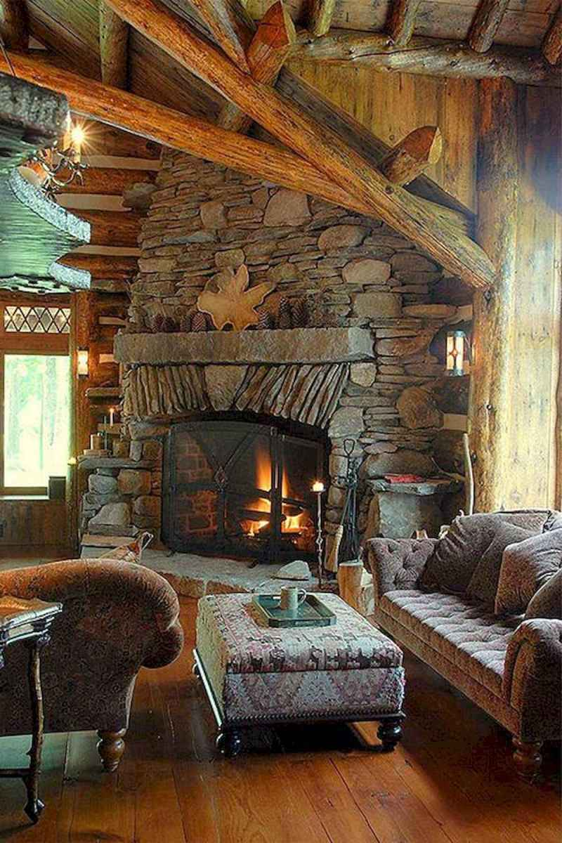 60 Awesome Log Cabin Homes Fireplace Design Ideas (42)