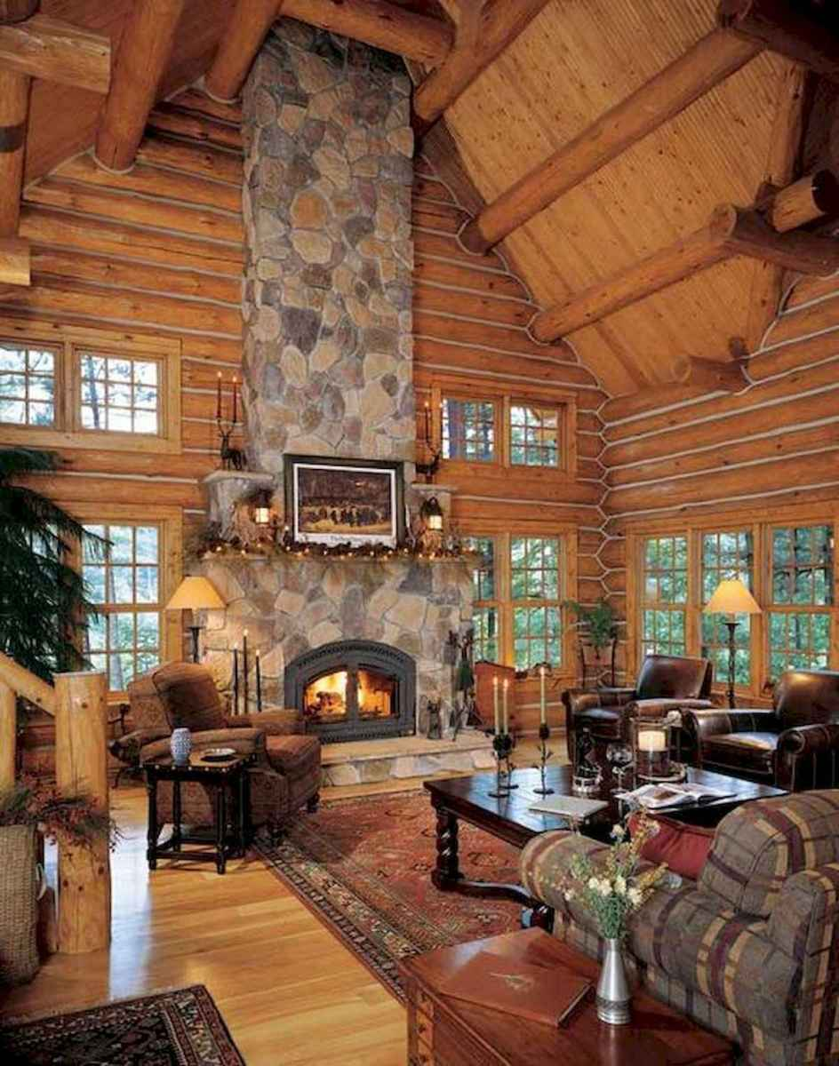 60 Awesome Log Cabin Homes Fireplace Design Ideas (5)