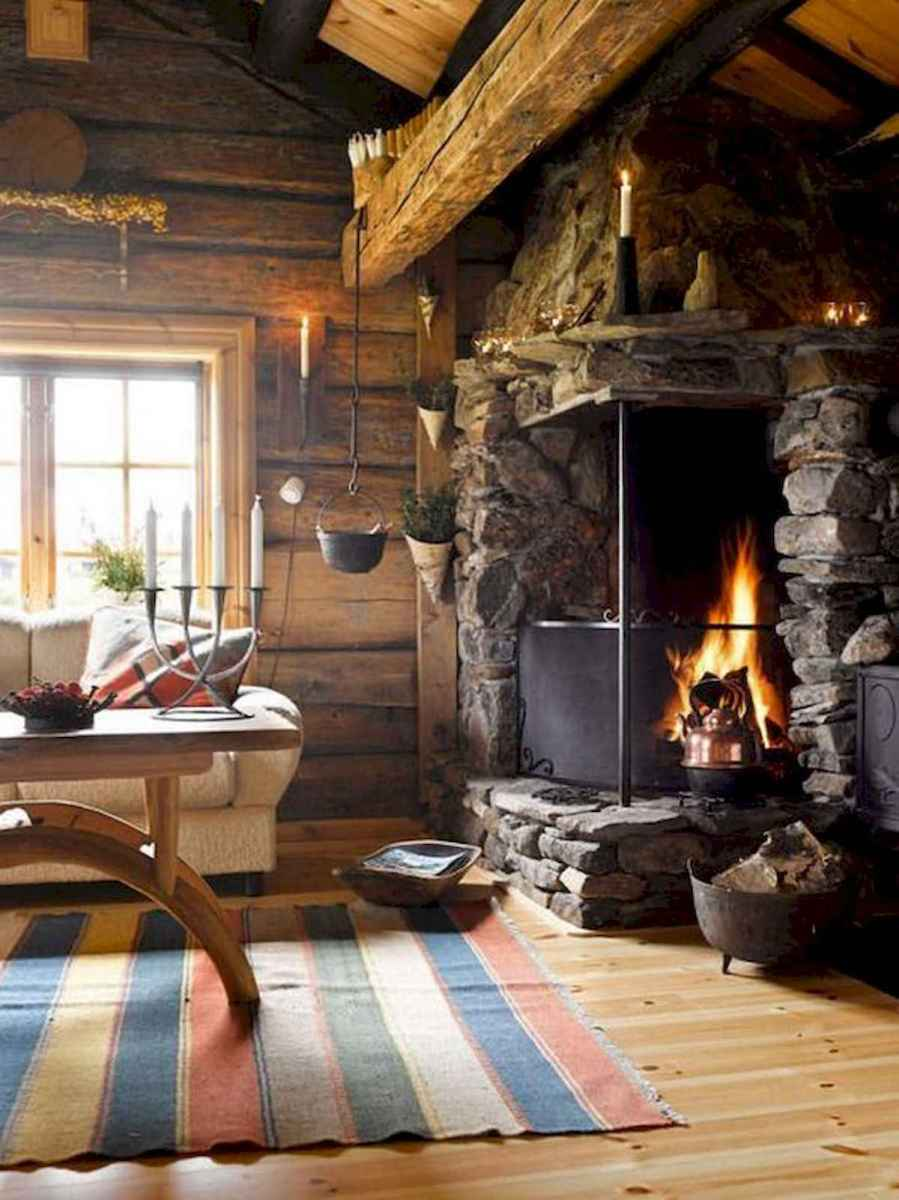 60 Awesome Log Cabin Homes Fireplace Design Ideas (51)