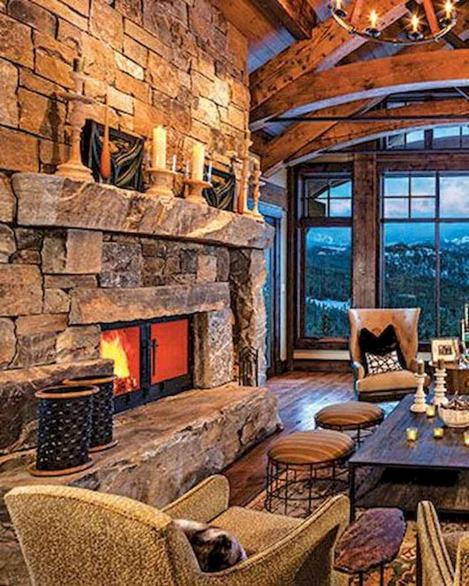 60 Awesome Log Cabin Homes Fireplace Design Ideas (52)