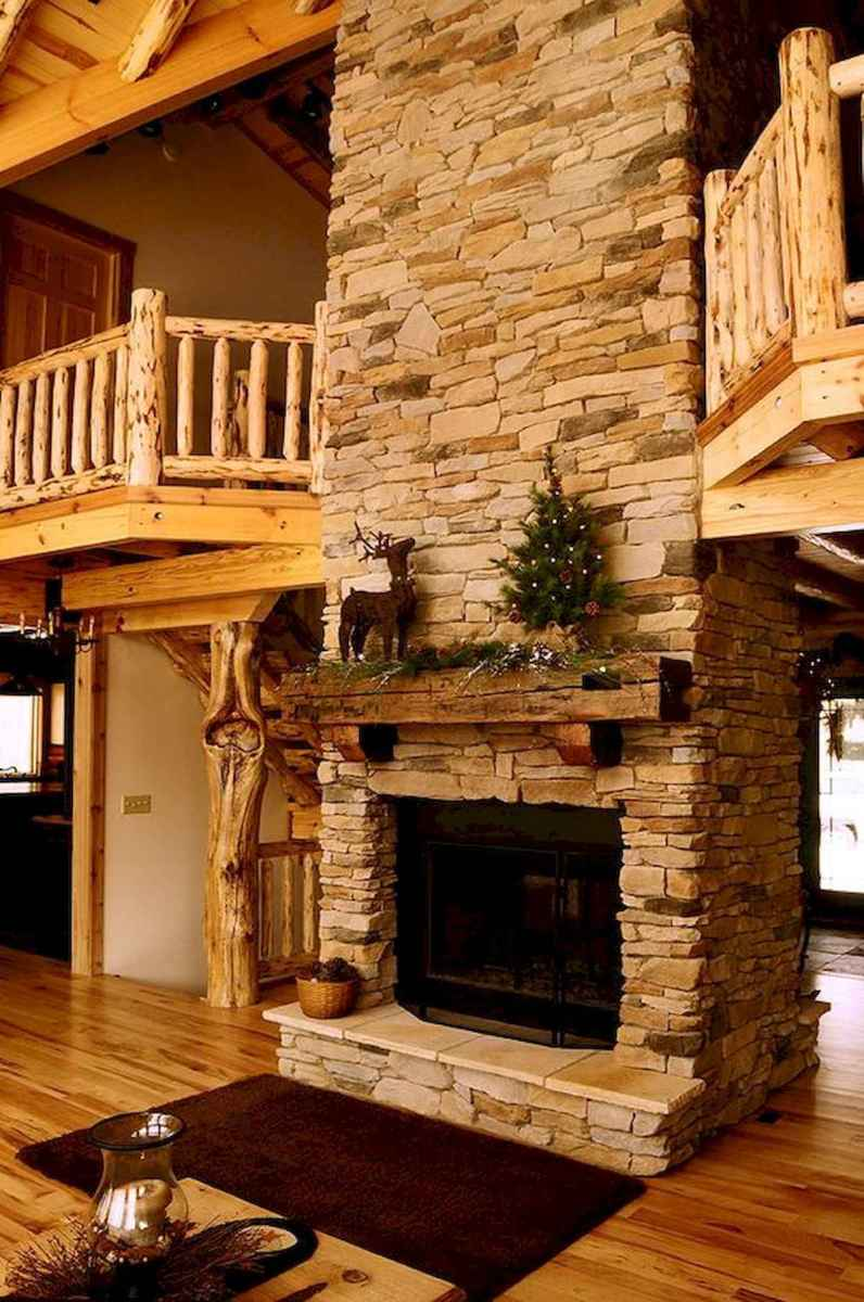 60 Awesome Log Cabin Homes Fireplace Design Ideas (56)