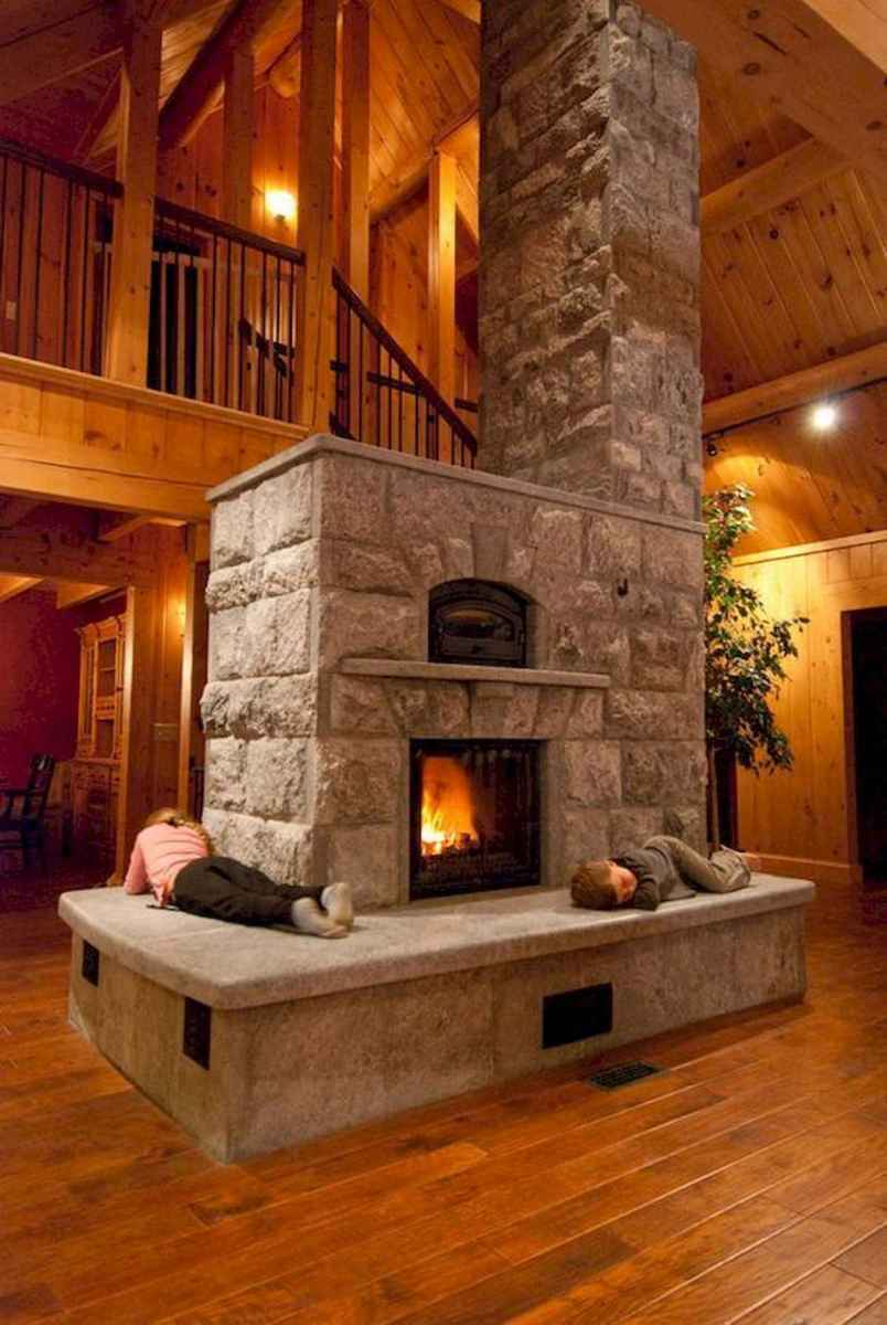 60 Awesome Log Cabin Homes Fireplace Design Ideas (57)