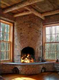 60 Awesome Log Cabin Homes Fireplace Design Ideas (6)