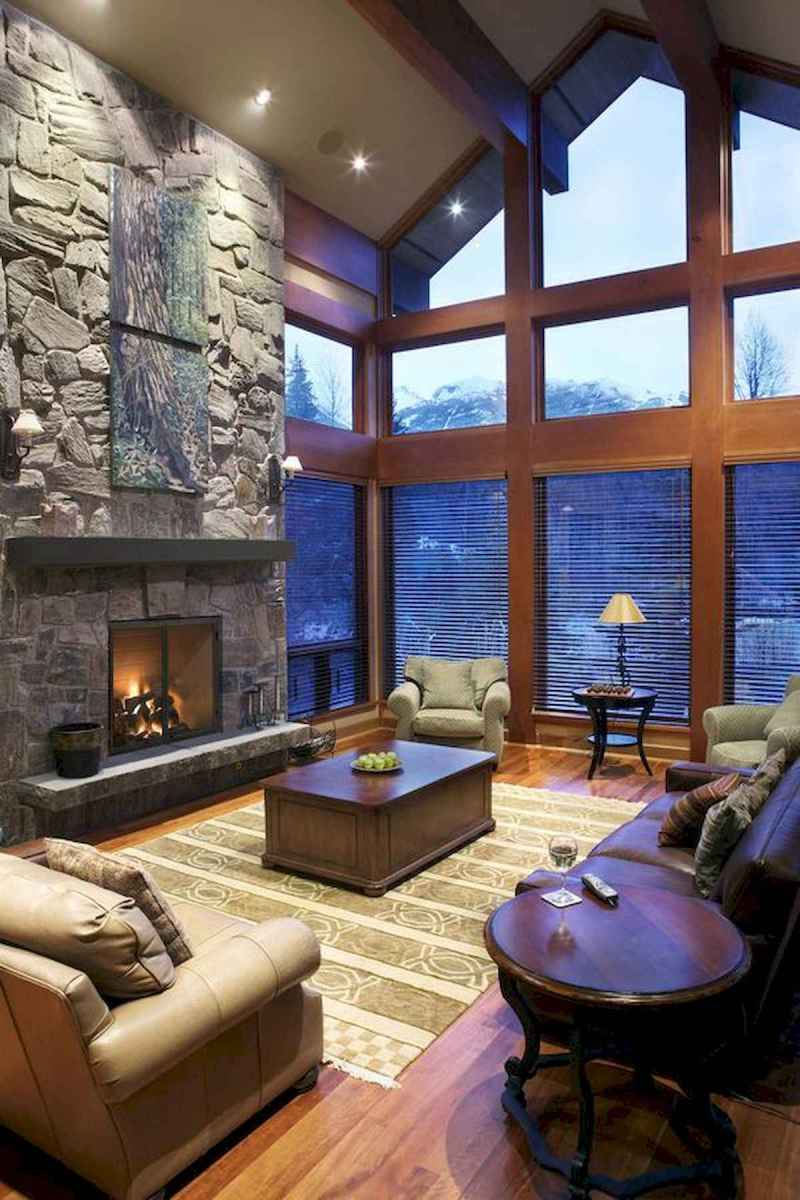 60 Awesome Log Cabin Homes Fireplace Design Ideas (61)