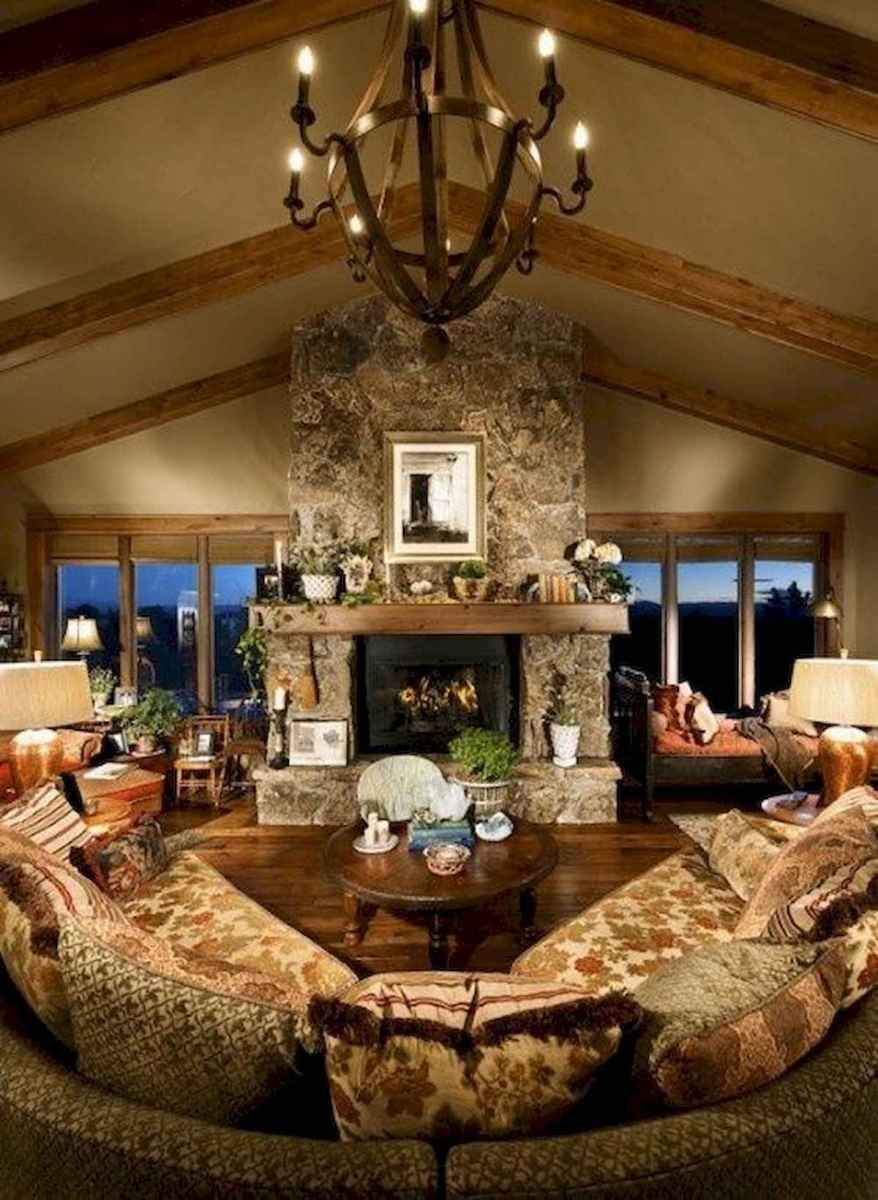 60 Awesome Log Cabin Homes Fireplace Design Ideas (7)