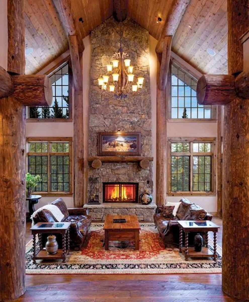 60 Awesome Log Cabin Homes Fireplace Design Ideas (8)