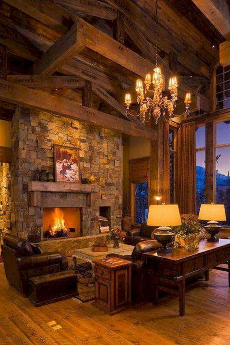 60 Awesome Log Cabin Homes Fireplace Design Ideas (9)
