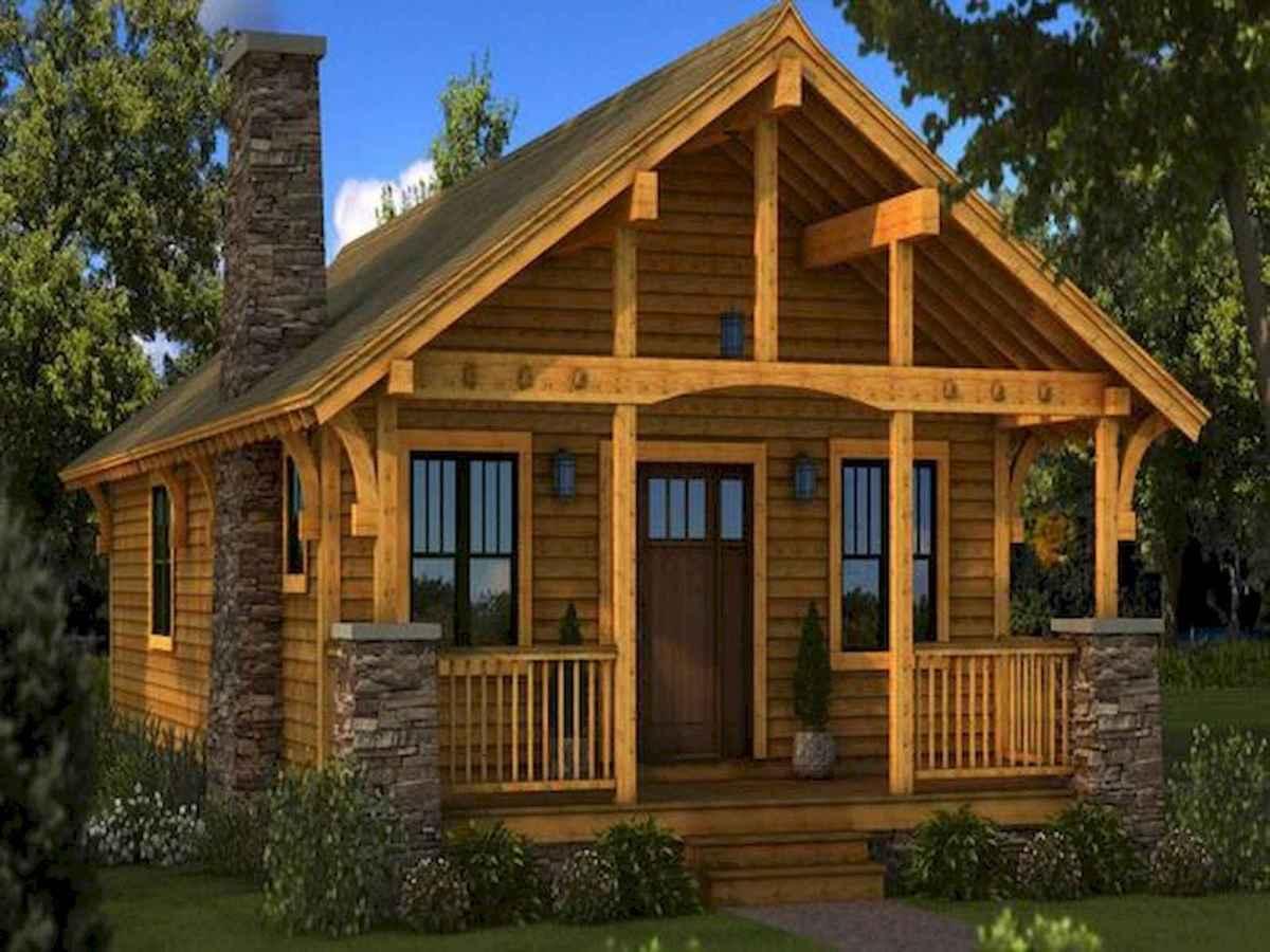 70 Suprising Small Log Cabin Homes Design Ideas (1)