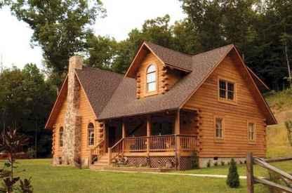 70 Suprising Small Log Cabin Homes Design Ideas (26)