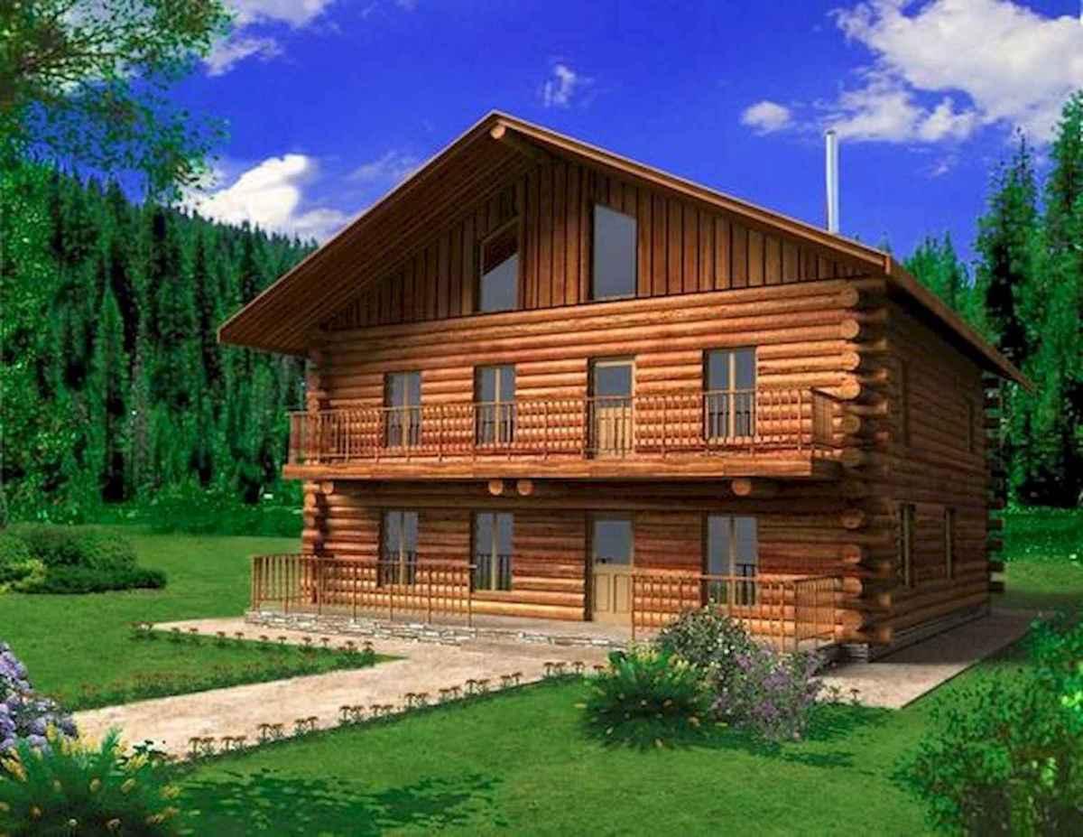 70 Suprising Small Log Cabin Homes Design Ideas (43)