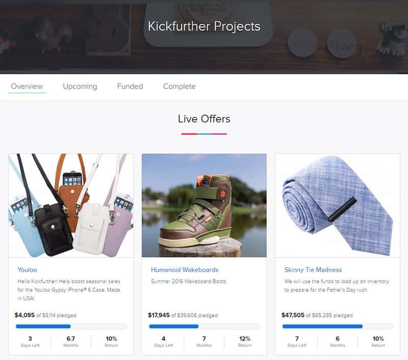 Kickfurther: Main Page with Live Offers