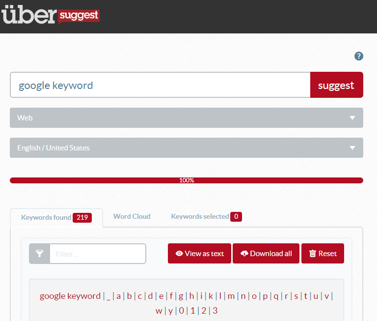 Google Keyword Planner Alternative: Ubersuggest