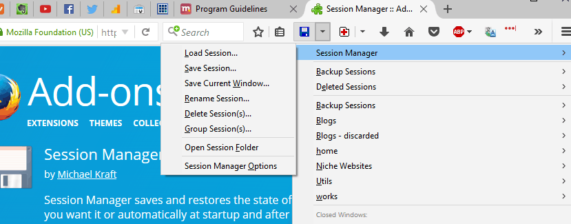 How To Manage Multiple Niche Websites And Stay Sane: Session Manager add-on