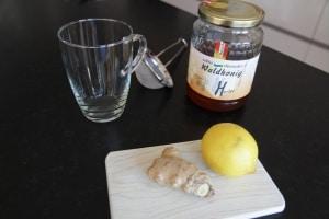 Ingredients lemon honey drink