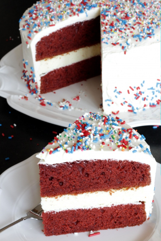 Red Velvet Cheesecake Cake ~ Living on Cookies