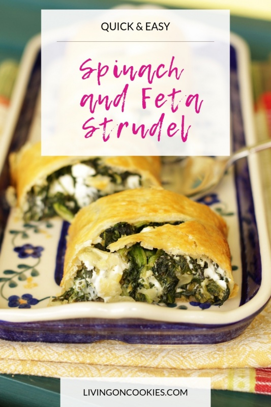 Spinach and Feta Strudel is fast and easy to make and it tastes just as delicious at room temperature as it does warm, making it perfect to take along for lunch or to potlucks. Try the recipe today!