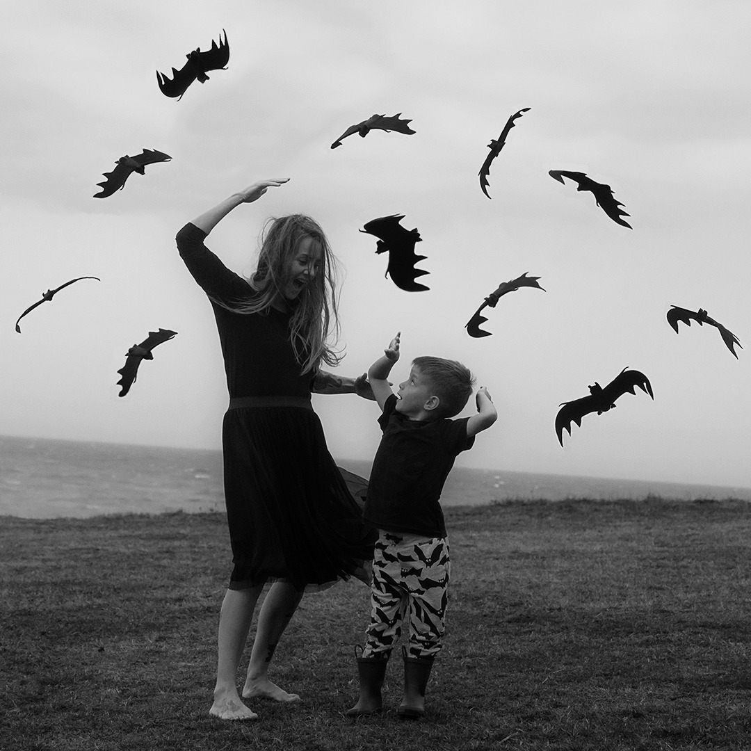 spooky photography bat attack