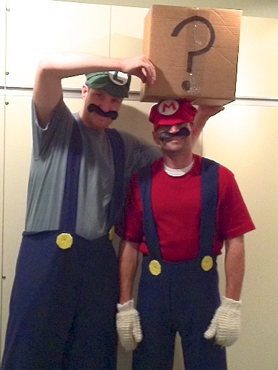Luigi and Mario from popular video game Super Mario Brothers. What's in the box?
