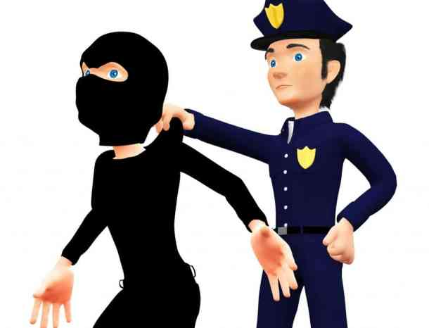police arresting a thief fake coupons