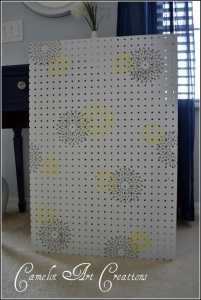 stenciled peg board