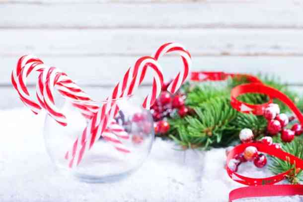 candy cane vase christmas decoratoin