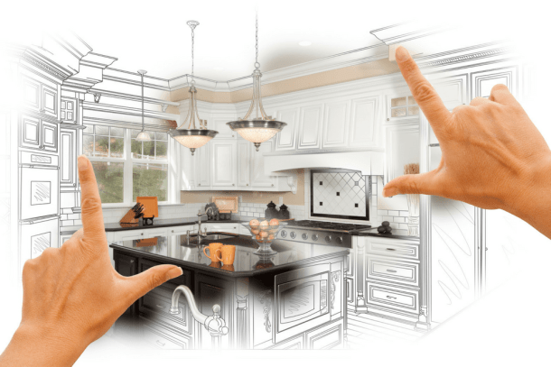 hands framing a kitchen remodel idea