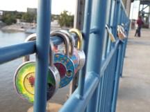 Lovers' locks on walking bridge to North Little Rock