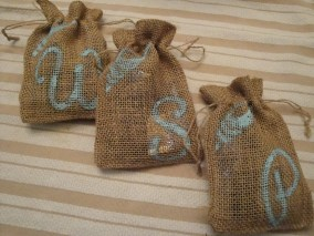 DIY monogrammed burlap drawstring bags