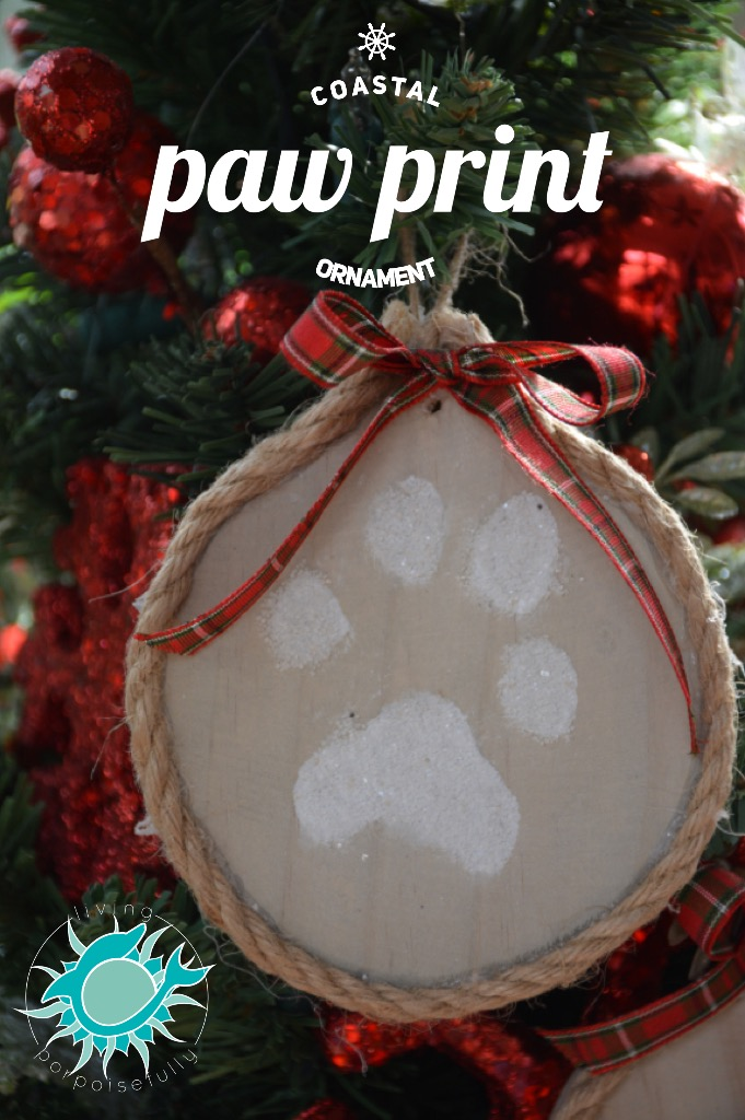 coastal paw print & nautical rope Christmas ornament
