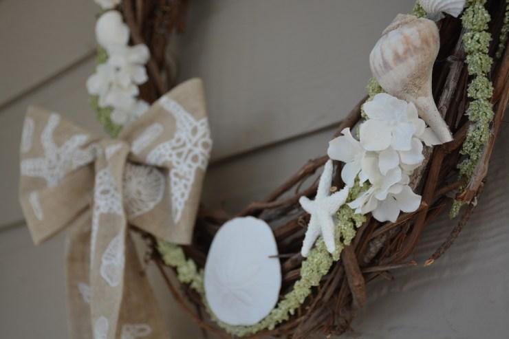 green seashell wreath