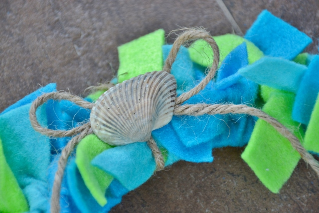 Earth Day felt strips wreath with seashell