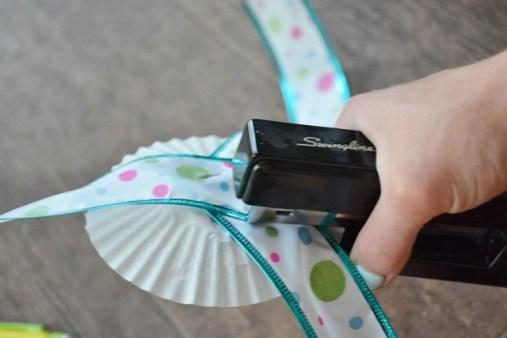 Jellyfish Craft Kit cupcake liner and ribbon stapled