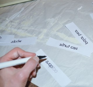 sea animals wall art step 3 - write over letters with iron transfer pen