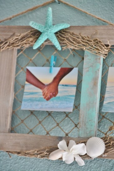 DIY coastal clothespin frame using a fishing net - LivingPorpoisefully.com