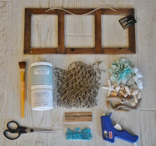 diy coastal clothespin photo frame supplies