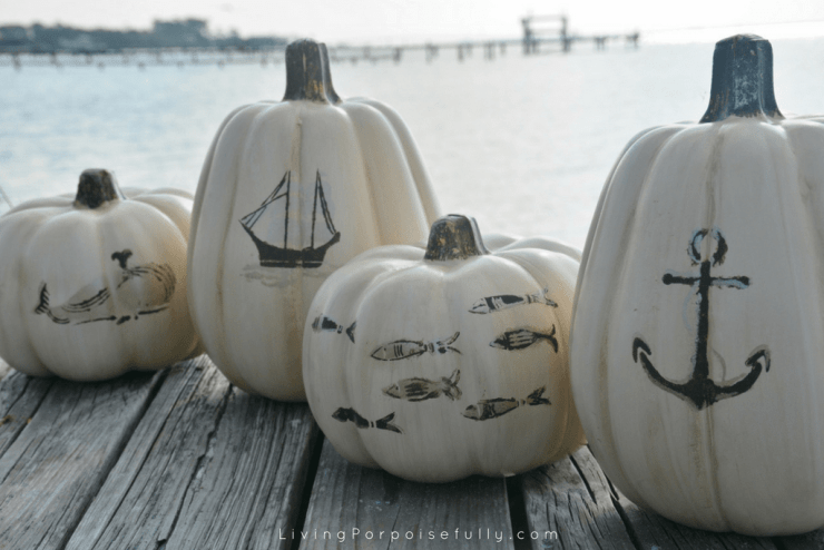 diy Nautical Pumpkins - whale, ship, fish, anchor