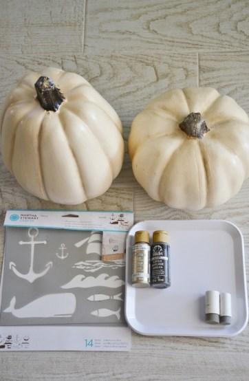 diy nautical pumpkins supplies