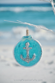 turquoise aqua anchor ornament