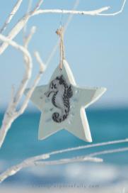 turquoise aqua seahorse wood ornament