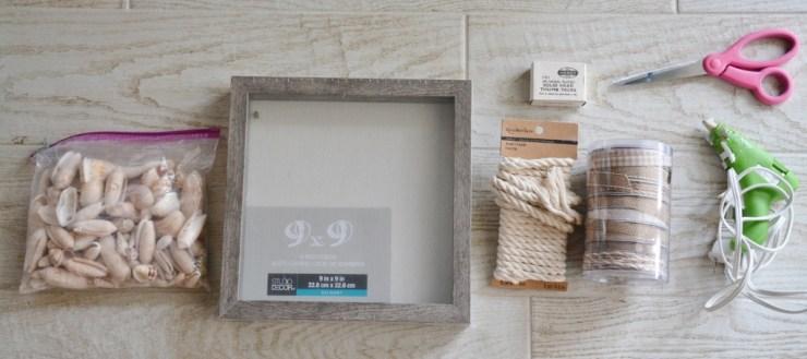 supplies for rope seashell shadowbox