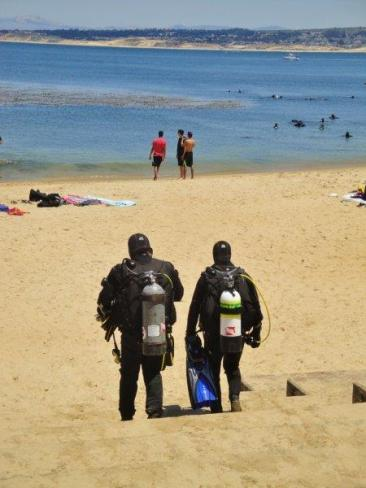 Monterey Bay California San Carlos Beach - scuba divers