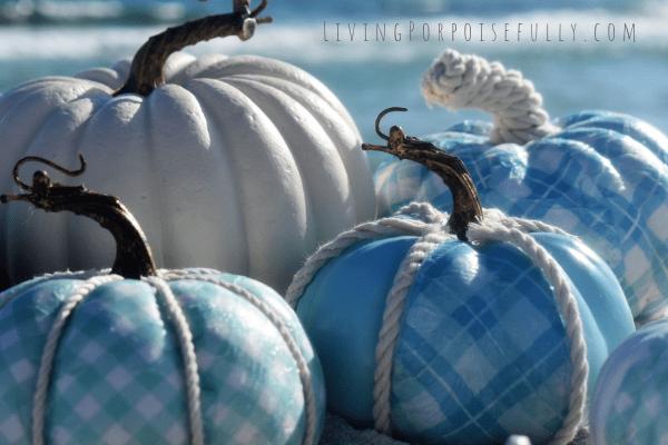 DIY Coastal Aqua Pumpkins - uses paper napkins! Living Porpoisefully (2)