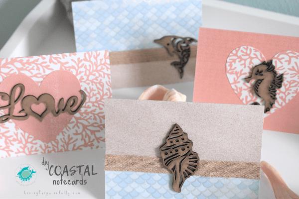 DIY Coastal Notecards Living Porpoisefully - sea animal designs