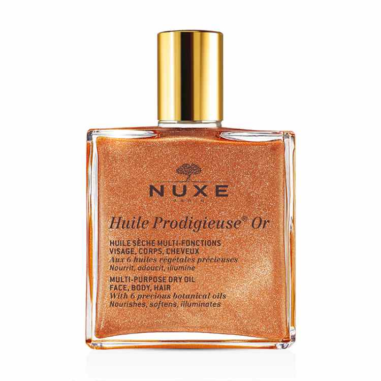 Recommended: Multi-use beauty products. Image of NUXE Huile Prodigieuse Golden shimmer bottle
