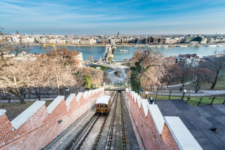 5 Things to do in Buda, Budapest.  Image of Budapest Castle Hill Funicular (Budavari Siklo) view from the top