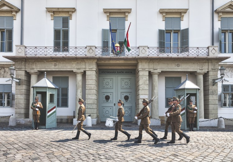5 Things to do in Buda, Budapest. Image of Hungarian presidential palace in the Buda Castle district. Guards patrol outside with guns, bayonets and drums