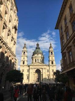 48 hours in Budapest: Image of a street with St Stephen's Basilica in the background
