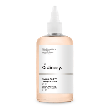 Recommended exfoliators for face, body & scalp. Image of The Ordinary Glycolic Acid 7% Toning Solution
