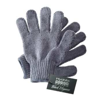 Recommended exfoliators for face, body & scalp.  Image of Hydrea London Bamboo Carbonised shower gloves